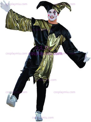 Traje adulto Jolly Jester Lame / Preto