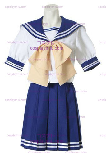 Azul e branco mangas curtas Sailor uniforme escolar