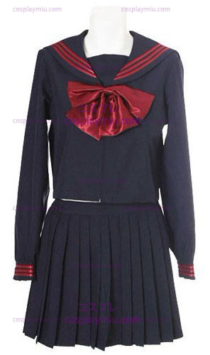 Deep Blue mangas compridas Sailor Uniforme Escolar