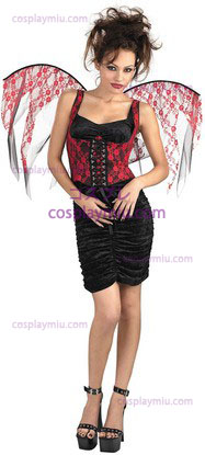 Red Wings Lace Corset Preto
