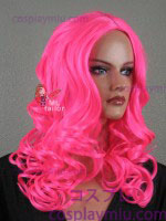 "20 ""Hot Pink Curly Cosplay peruca Midpart"