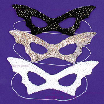Cat Mask, Sequin, Preto