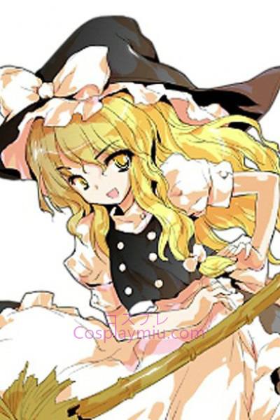 Touhou Project Kirisame Marisa Blond longa peruca Curly Cosplay