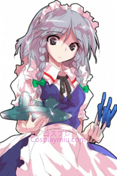 Touhou Project Izayoi Sakuya Light Purple Curto com peruca longa de Cosplay Braid